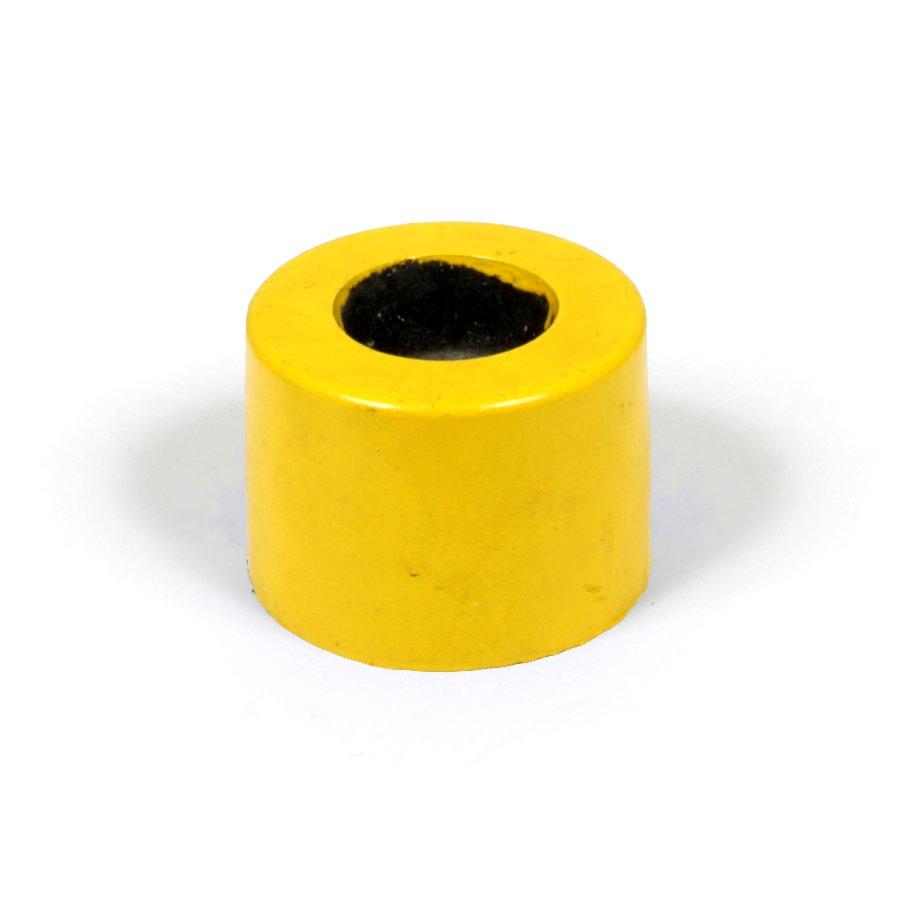 """Žlutá plastová koncovka """"samice"""" pro silniční obrubníky - délka 14,5 cm, šířka 14,5 cm a výška 10 cm"""