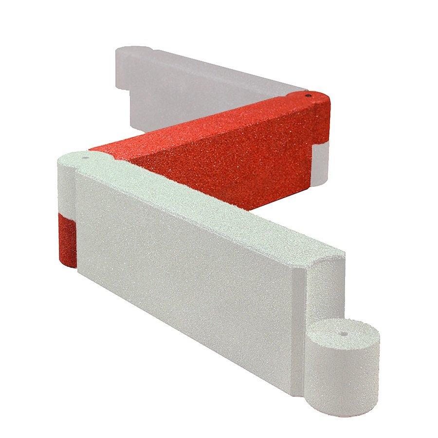 Červený gumový dopadový obrubník OB4 FLOMA - délka 115 cm, šířka 15 cm a výška 30 cm