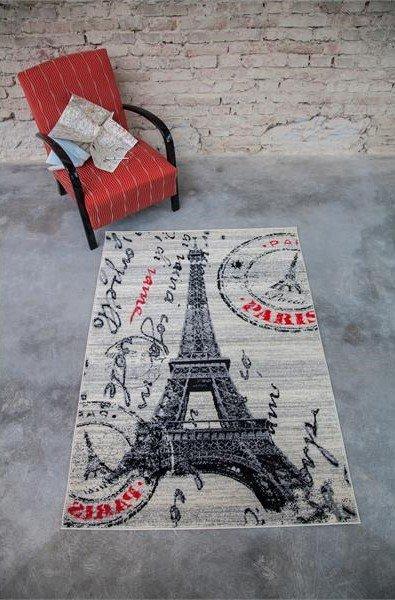 Béžovo-šedý moderní kusový dětský koberec Popart - délka 150 cm a šířka 80 cm