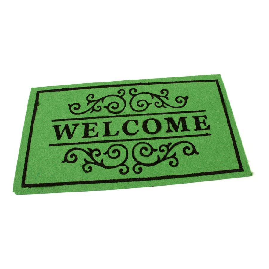Zelená textilní vstupní čistící vnitřní rohož Welcome - Deco, FLOMAT - délka 33 cm, šířka 58 cm a výška 0,3 cm