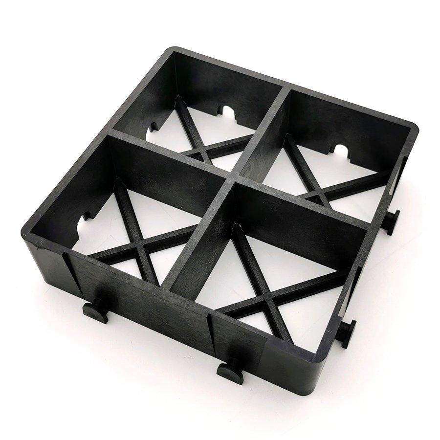 Černá plastová zátěžová zatravňovací dlažba ProGrass MAX, FLOMA - délka 22,5 cm, šířka 22,5 cm a výška 6 cm
