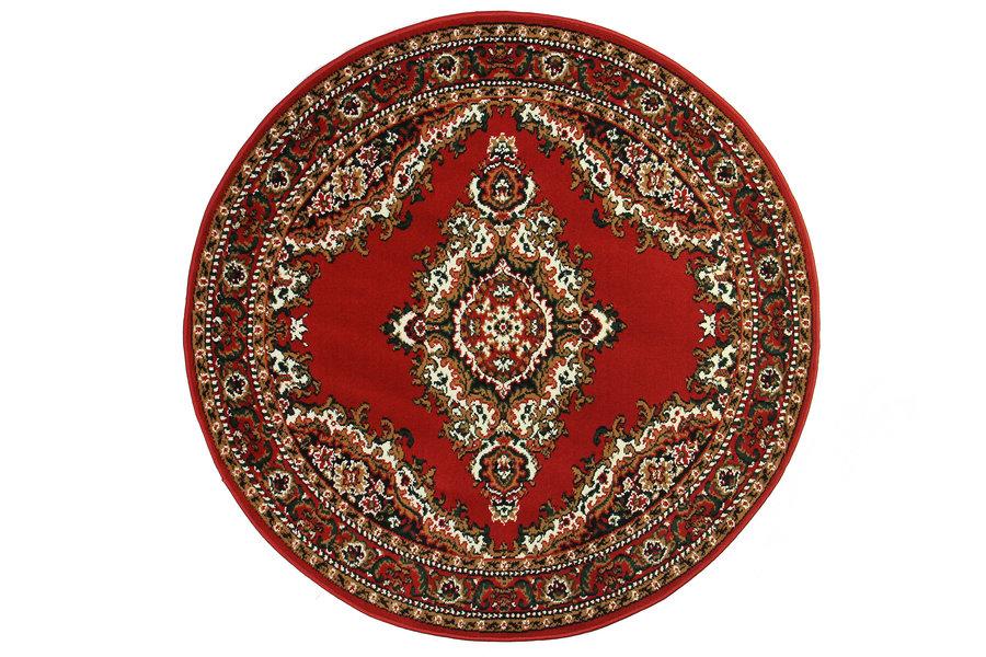 Červený kusový orientální kulatý koberec - průměr 150 cm