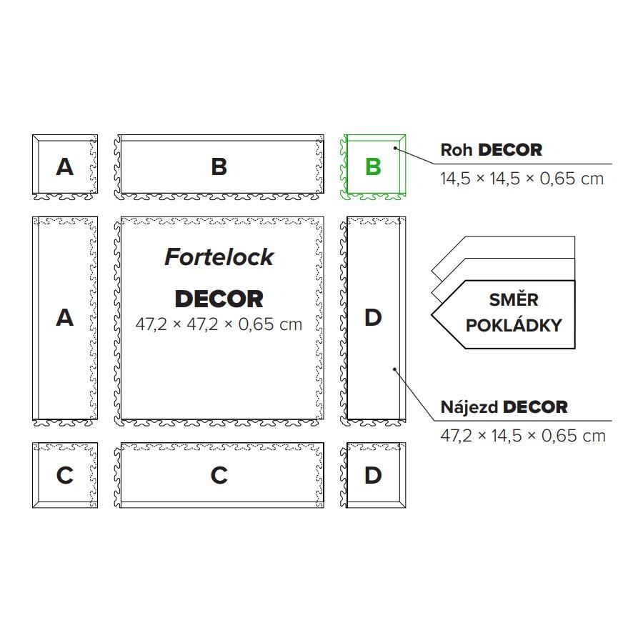 """Hnědý plastový vinylový rohový nájezd """"typ B"""" Home Decor 2117, Fortelock - délka 14,5 cm, šířka 14,5 cm a výška 0,65 cm"""