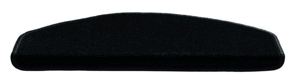 Černý kobercový půlkruhový nášlap na schody Parma - délka 56 cm a šířka 17 cm