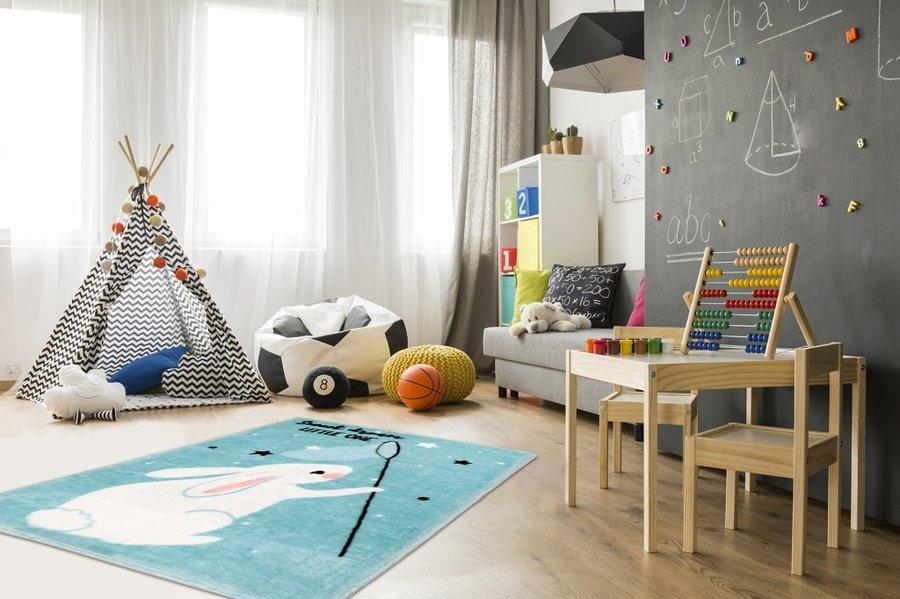 Modrý kusový dětský koberec Lollipop - délka 130 cm a šířka 90 cm