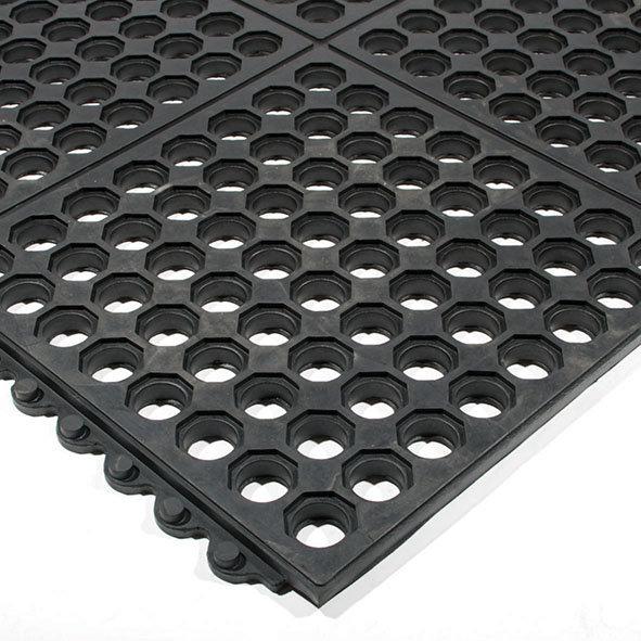 Černá gumová modulární průmyslová protiúnavová protiskluzová děrovaná rohož Fatigue - délka 90 cm, šířka 90 cm a výška 1,6 cm
