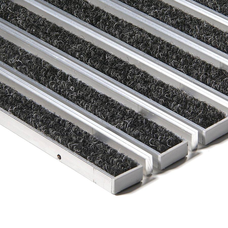 Textilní hliníková kartáčová vnitřní vstupní rohož Alu Extra, FLOMAT - výška 1,7 cm