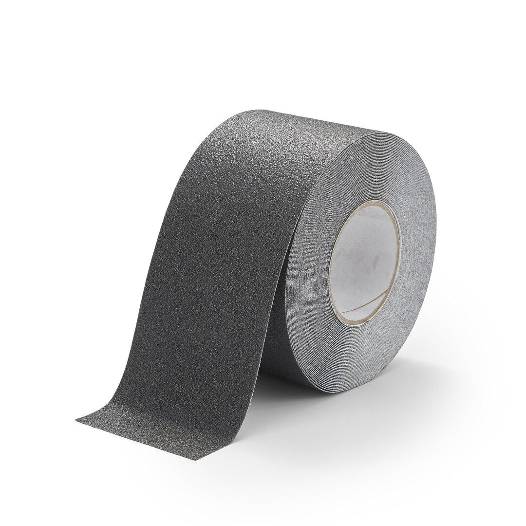 Černá korundová chemicky odolná podlahová páska Standard - 18,3 m x 10 cm