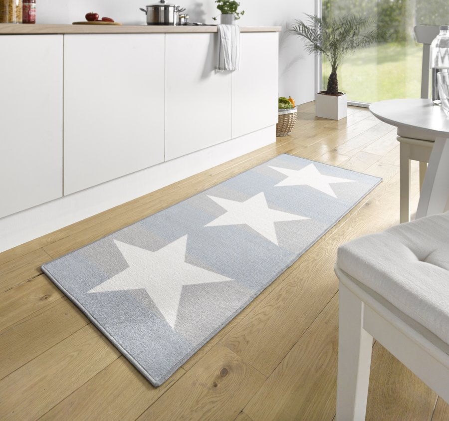 Modrý moderní kusový koberec běhoun Loop - délka 180 cm a šířka 67 cm