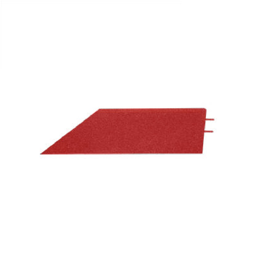 Červený pravý nájezd (roh) pro gumové dlaždice - délka 75 cm, šířka 30 cm a výška 3 cm