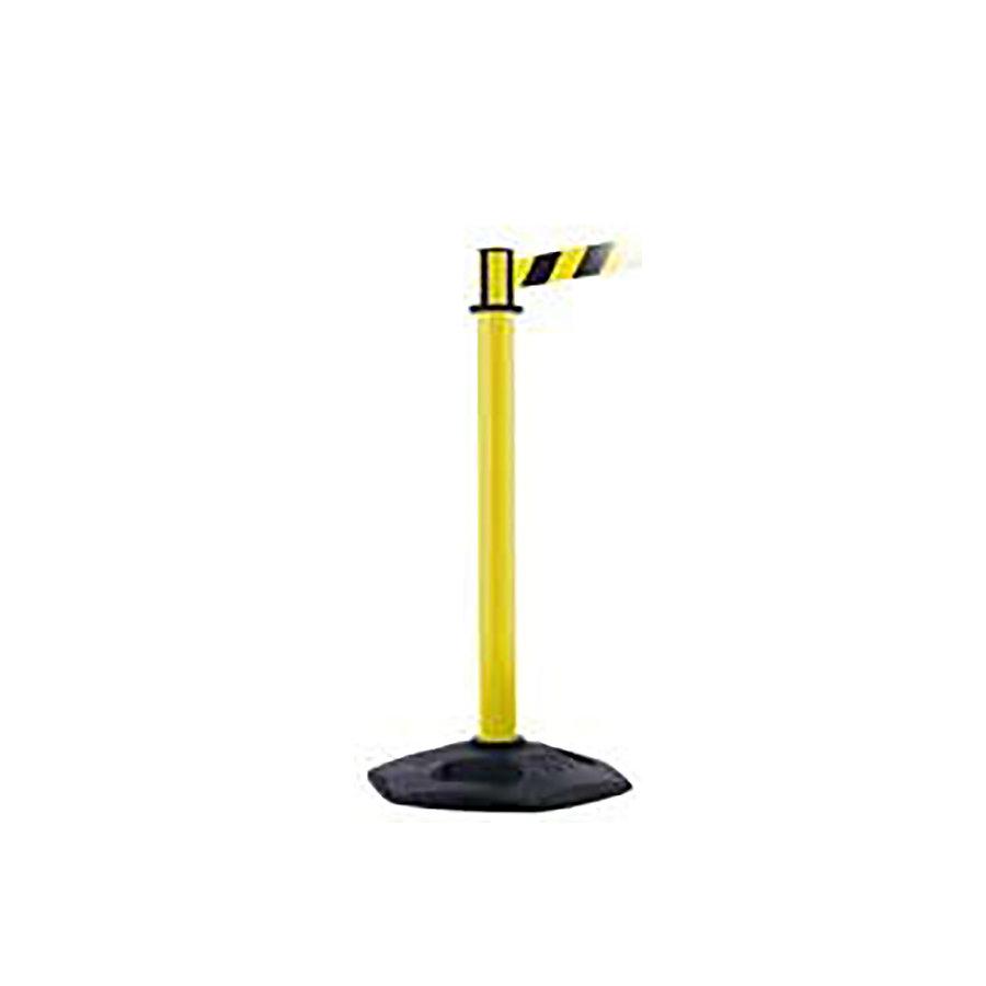 Žlutý plastový vymezovací sloupek se samonavíjecím pásem - výška 97,5 cm