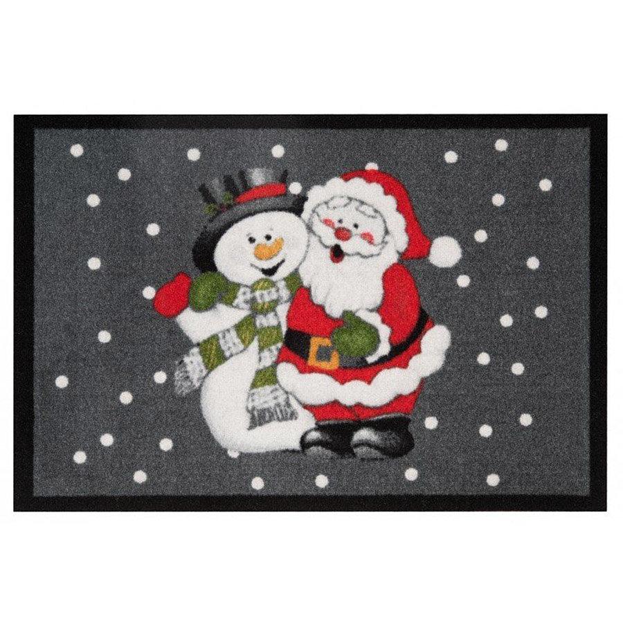 Vnitřní vstupní čistící rohož Santa a sněhulák - délka 45 cm, šířka 64 cm a výška 0,7 cm