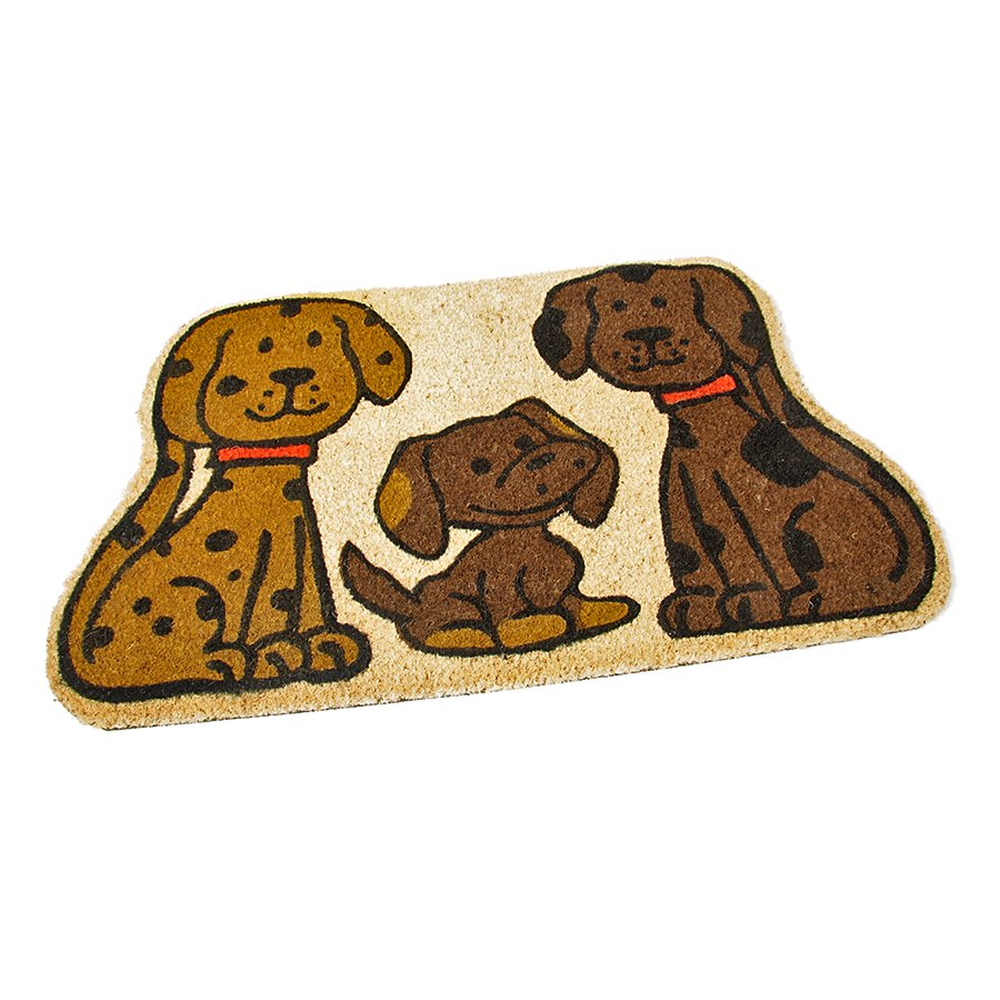Kokosová čistící venkovní vstupní rohož Happy Dogs, FLOMAT - délka 75 cm, šířka 45 cm a výška 1,7 cm
