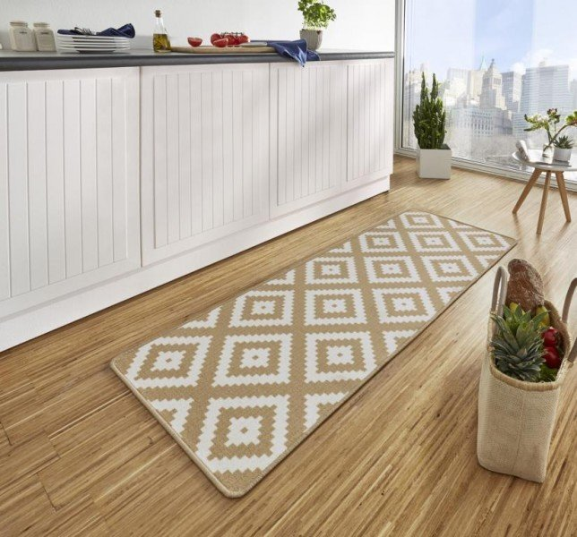 Hnědý moderní kusový bytový koberec běhoun Loop - délka 180 cm a šířka 67 cm