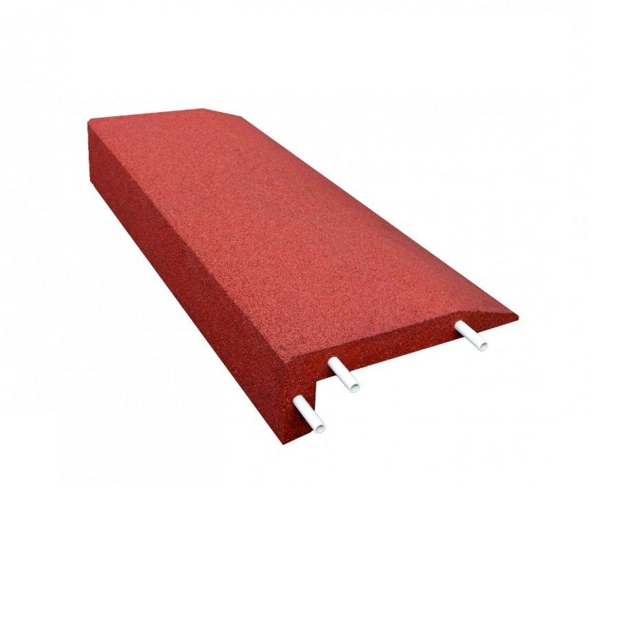 Červený gumový kryt obrubníku - délka 100 cm, šířka 40 cm a výška 15 cm