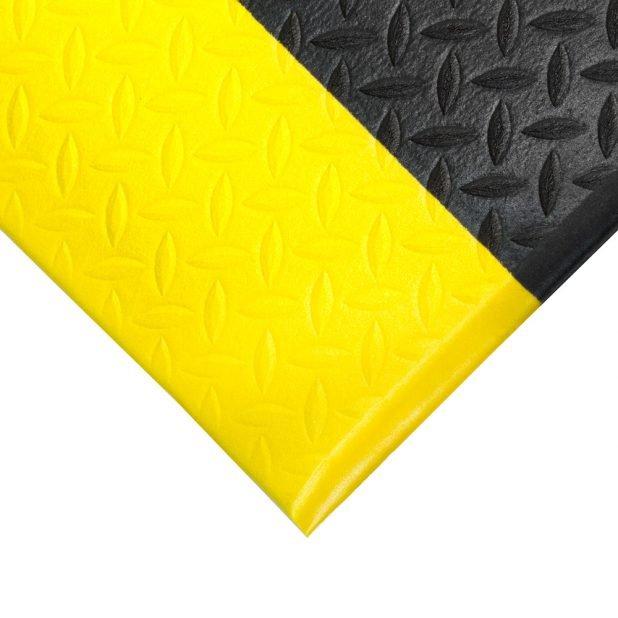 Černo-žlutá gumová protiskluzová protiúnavová průmyslová rohož - 90 x 60 x 0,9 cm (80000606)