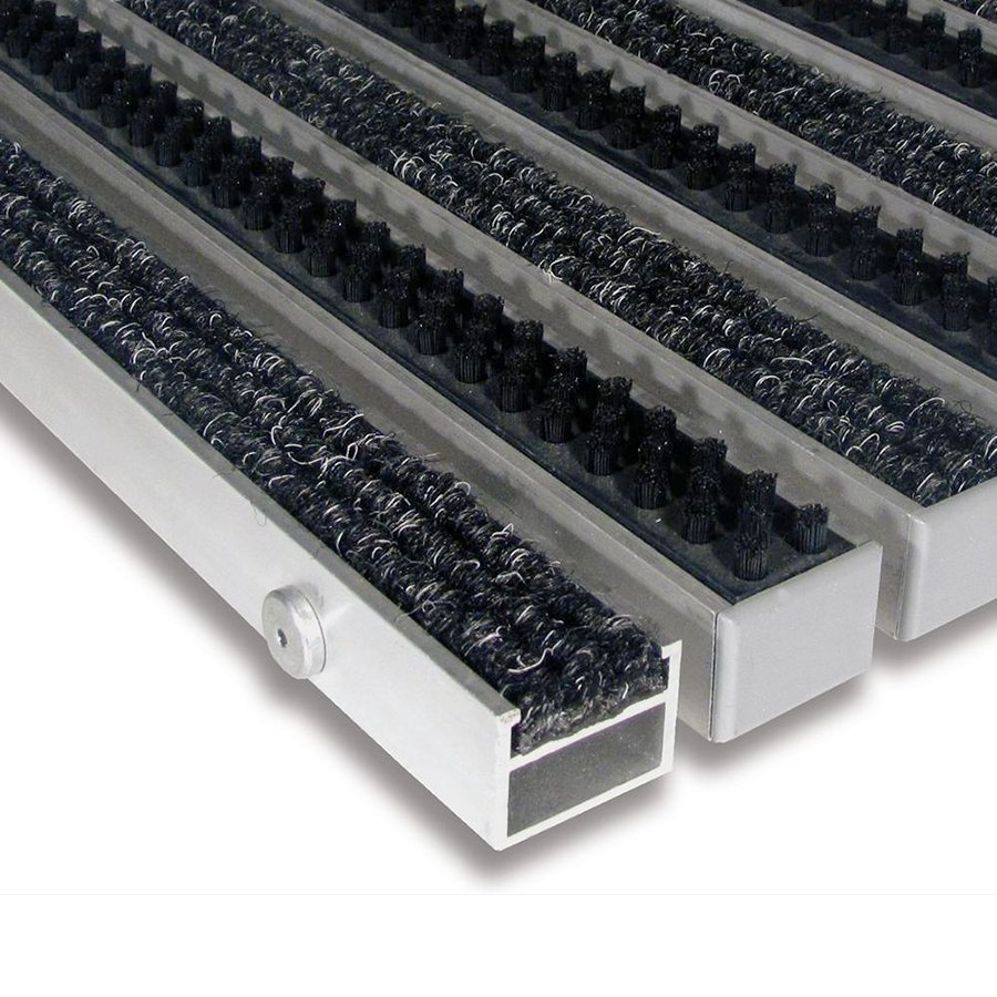 Textilní hliníková kartáčová vnitřní vstupní rohož Alu Extra, FLOMAT - výška 2,7 cm