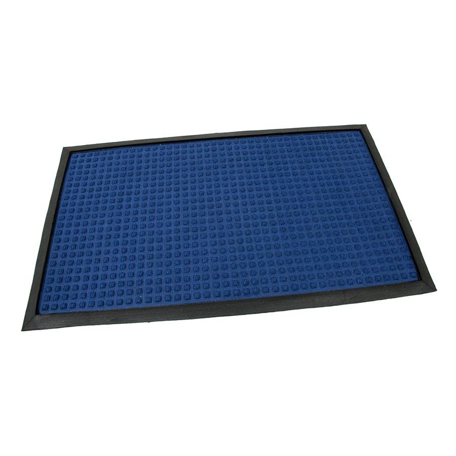 Modrá textilní gumová čistící vstupní rohož Little Squares, FLOMAT - délka 45 cm, šířka 75 cm a výška 0,8 cm