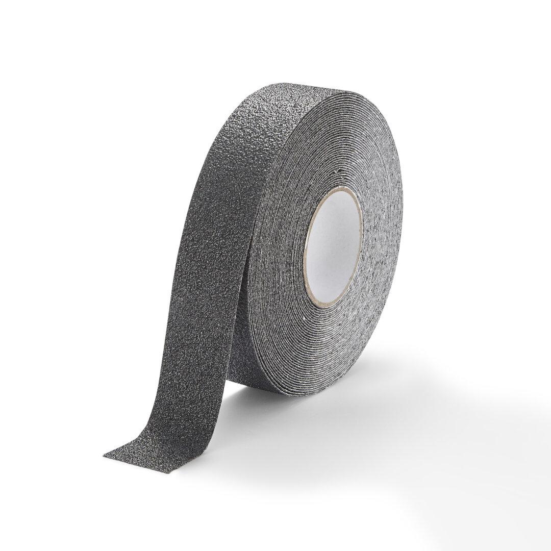Černá korundová chemicky odolná podlahová páska Extra Super - 18,3 m x 5 cm
