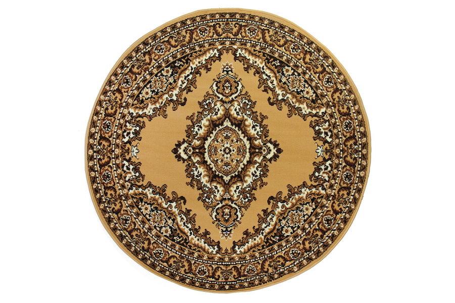 Béžový kusový orientální kulatý koberec Teheran-T