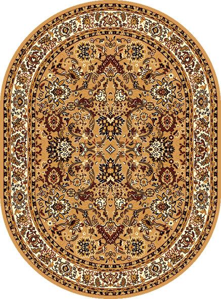 Béžový kusový orientální oválný koberec