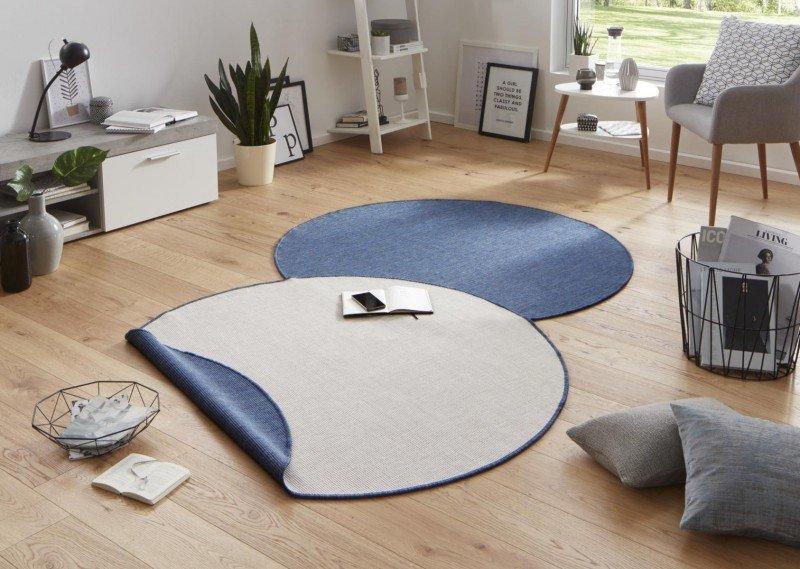 Různobarevný kusový oboustranný kulatý koberec Twin-Wendeteppiche