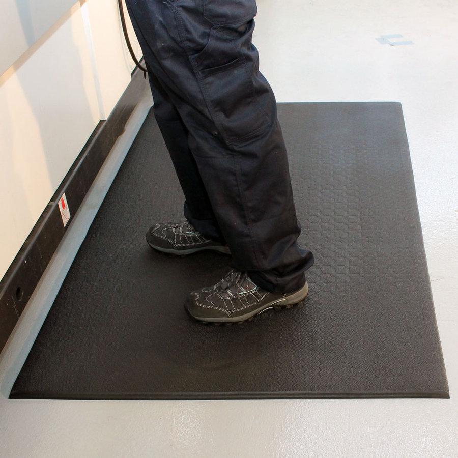 Černá vinylová protiskluzová protiúnavová průmyslová rohož Lite - šířka 90 cm a výška 0,6 cm
