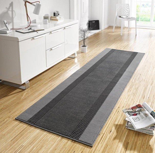 Šedý kusový moderní koberec běhoun Basic - šířka 80 cm