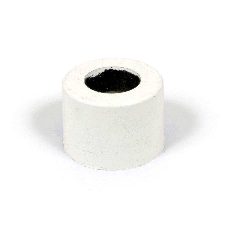 """Bílá plastová koncovka """"samice"""" pro silniční obrubníky - délka 14,5 cm, šířka 14,5 cm a výška 10 cm"""