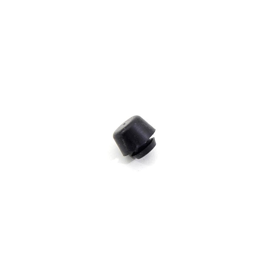 Černý pryžový doraz nástrčný do díry FLOMA - průměr 1,5 cm, výška 0,8 cm a výška krku 0,2 cm