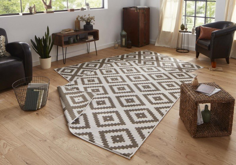 Hnědý oboustranný moderní koberec Twin-Wendeteppiche