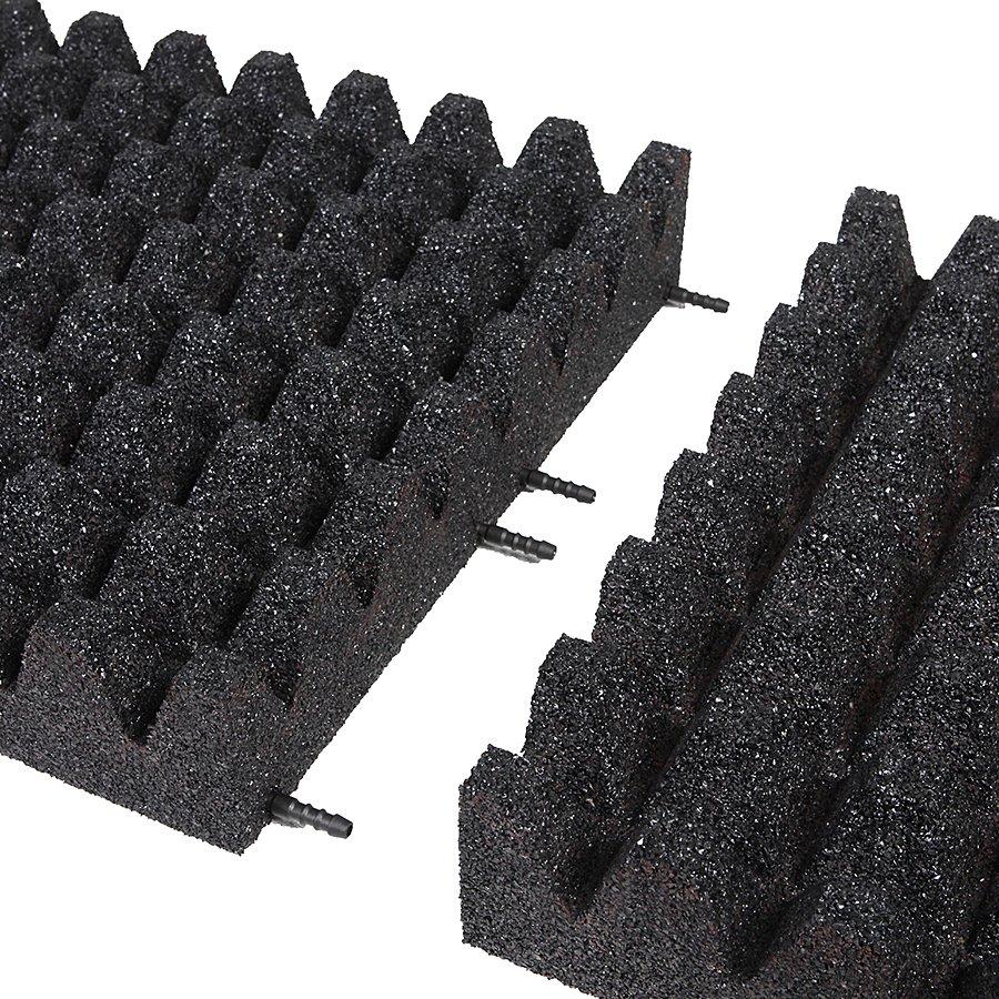 Černá gumová dlaždice (V100/R50) - délka 50 cm, šířka 50 cm a výška 10 cm