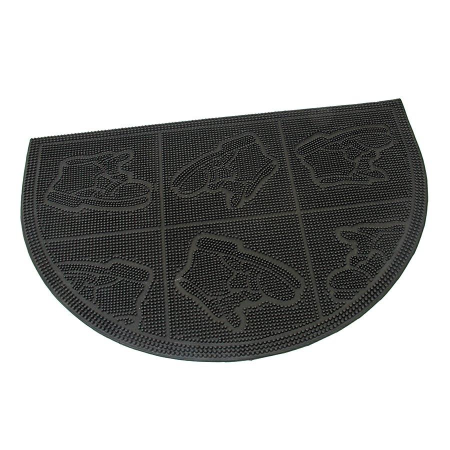 Gumová vstupní venkovní kartáčová čistící půlkruhová rohož Shoes - Squares, FLOMAT - délka 60 cm, šířka 40 cm a výška 0,7 cm