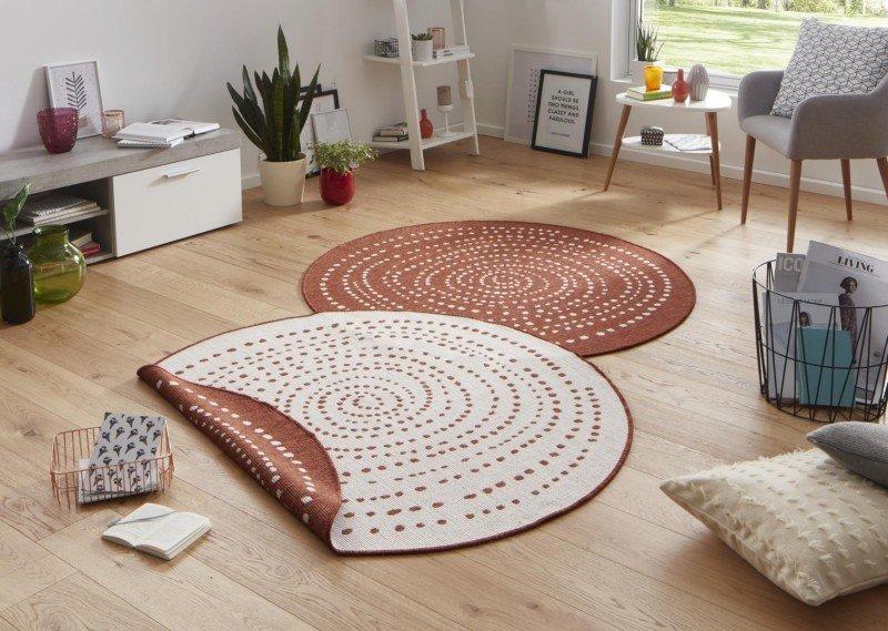 Hnědý kusový oboustranný moderní kulatý koberec Twin-Wendeteppiche