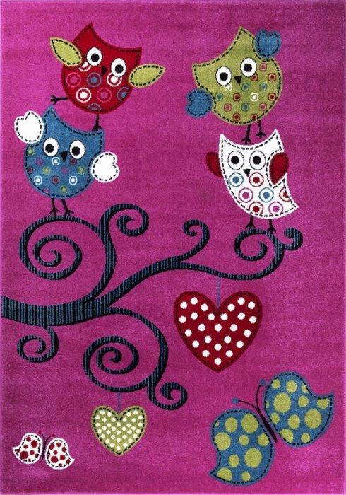 Růžový nebo různobarevný kusový dětský koberec - délka 230 cm a šířka 160 cm
