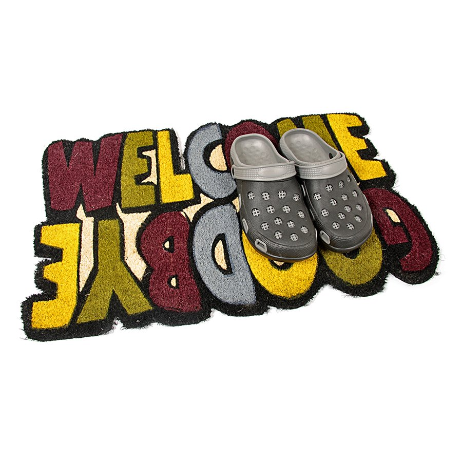 Kokosová čistící venkovní vstupní rohož Welcome - Goodbye, FLOMA - délka 45 cm, šířka 75 cm a výška 1,7 cm