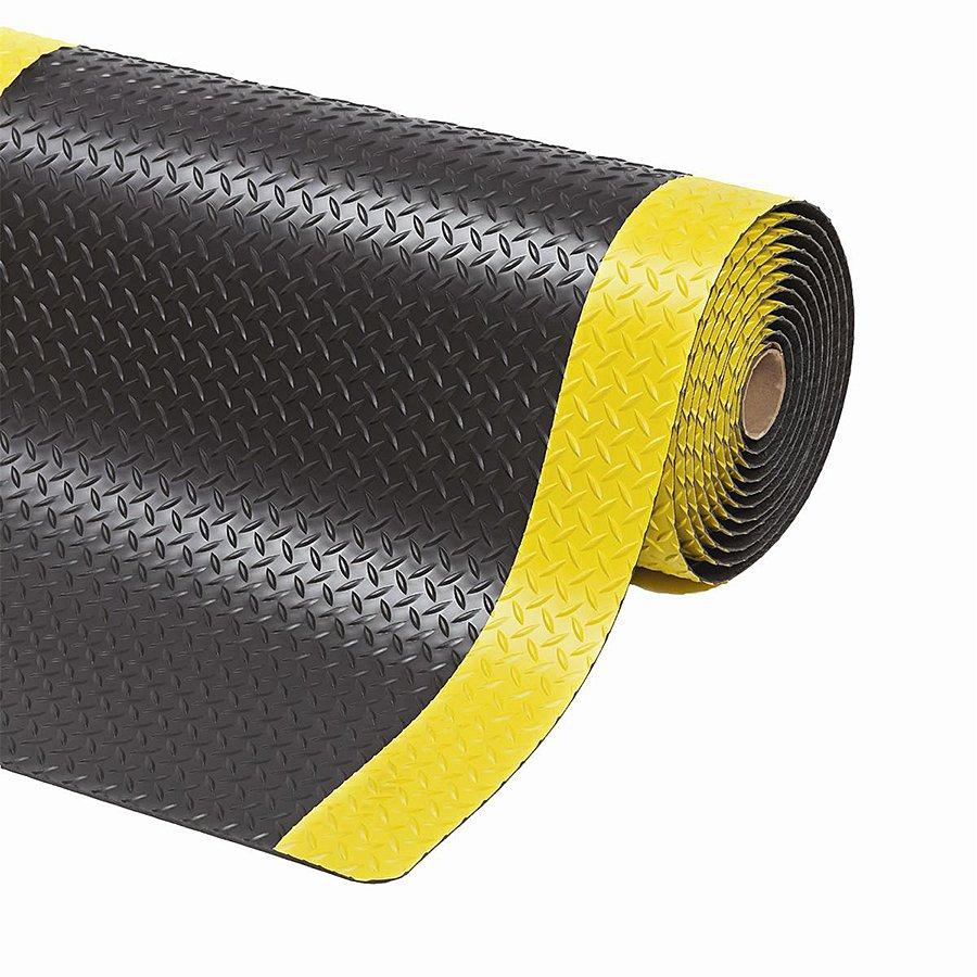 Černo-žlutá metrážová protiúnavová průmyslová laminovaná rohož - výška 1,4 cm