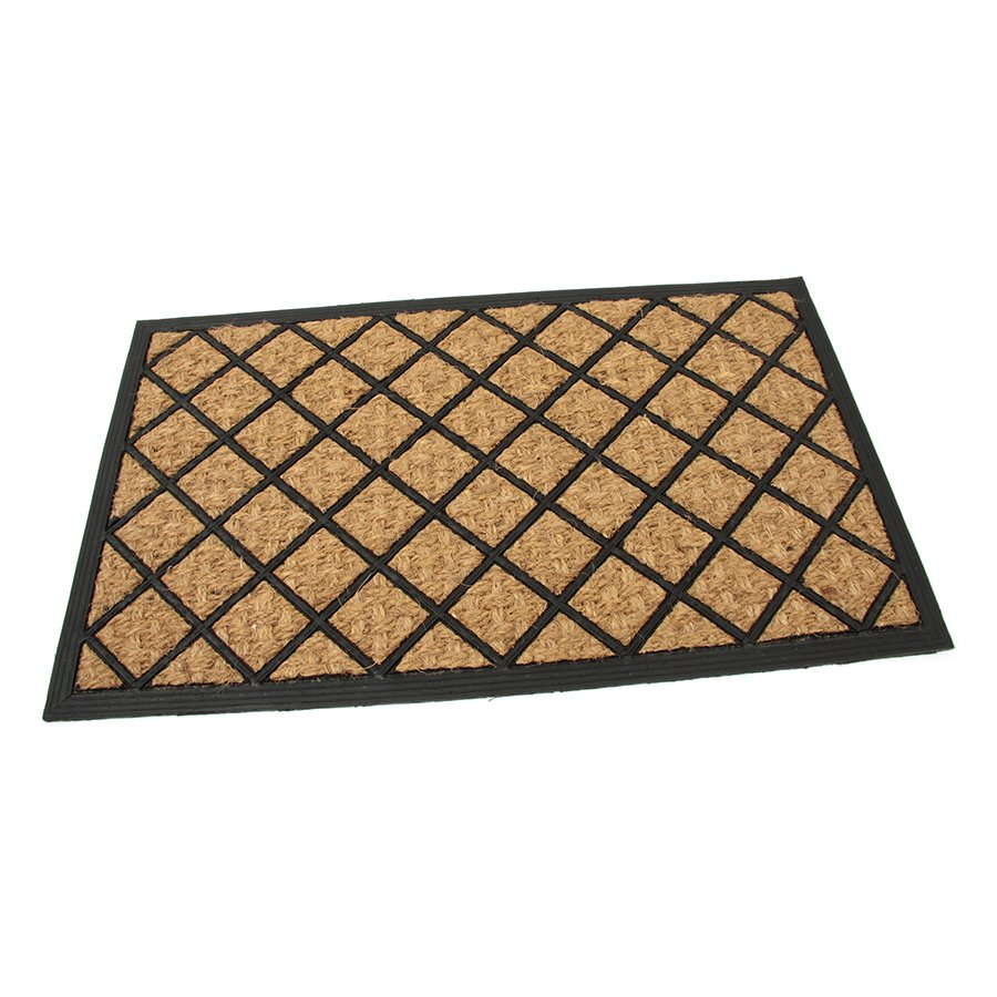 Kokosová čistící venkovní vstupní rohož Rectangle - Rhombus, FLOMA - délka 45 cm, šířka 75 cm a výška 0,8 cm