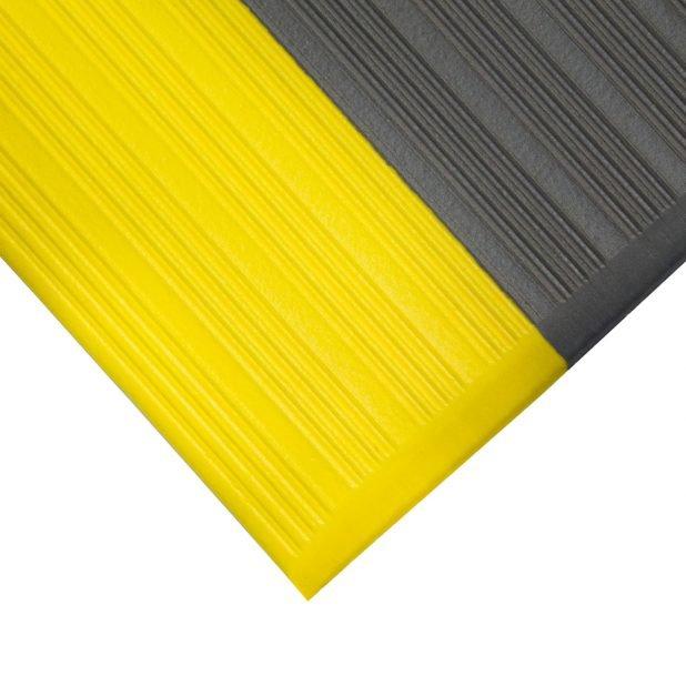 Šedo-žlutá gumová protiskluzová protiúnavová průmyslová rohož - výška 0,9 cm