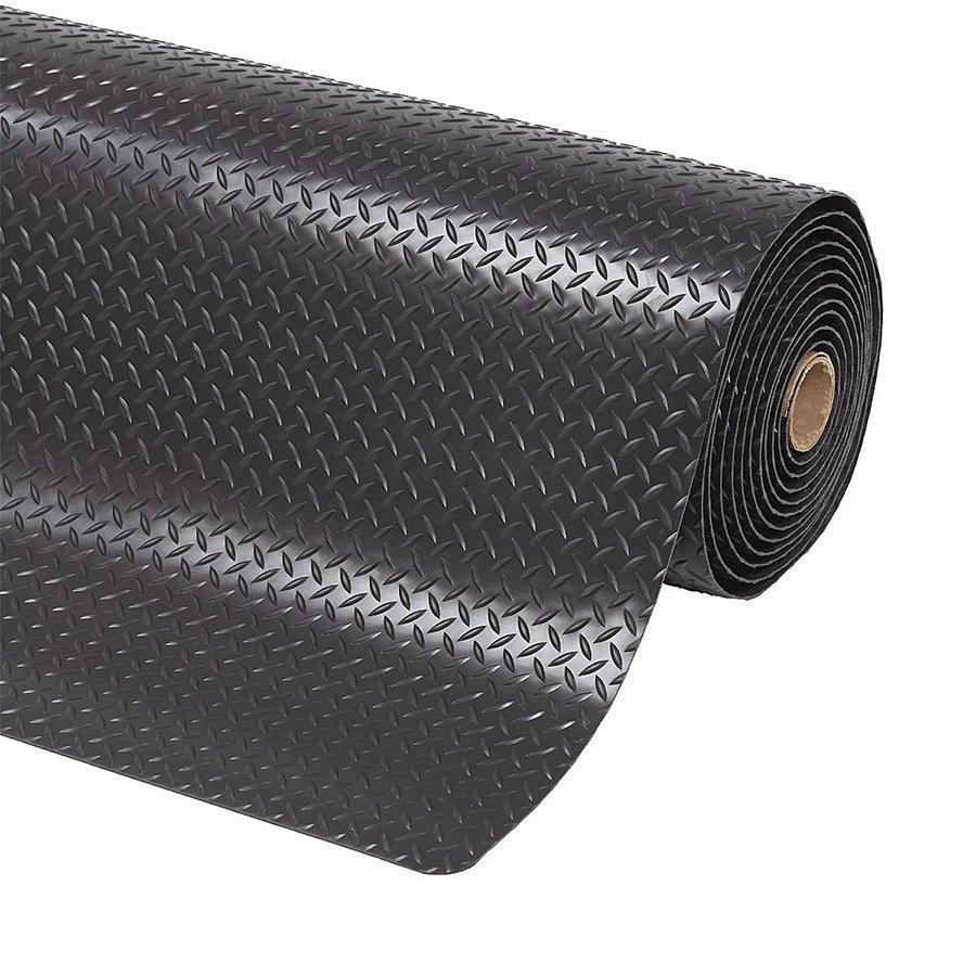 Černá metrážová protiúnavová průmyslová laminovaná rohož - výška 1,4 cm