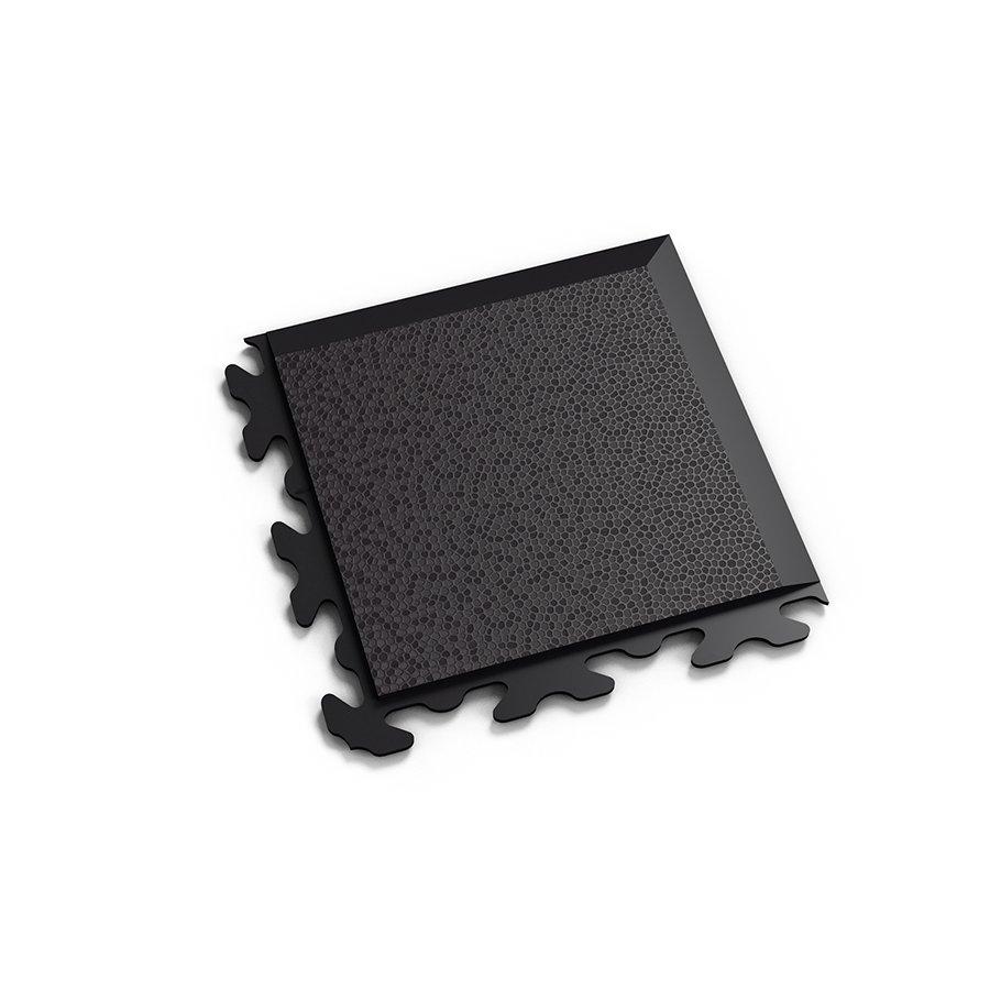 """Černý plastový vinylový rohový nájezd """"typ B"""" Invisible Eco 2037 (hadí kůže), Fortelock - délka 14,5 cm, šířka 14,5 cm a výška 0,67 cm"""