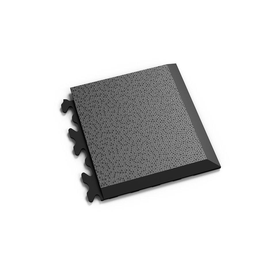 "Černý vinylový plastový rohový nájezd ""typ D"" Invisible 2039 (hadí kůže), Fortelock - délka 14,5 cm, šířka 14,5 cm a výška 0,67 cm"
