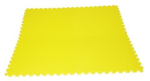 Žlutá modulární pěnová fitness podložka - délka 62 cm, šířka 62 cm a výška 1,4 cm - 4 ks