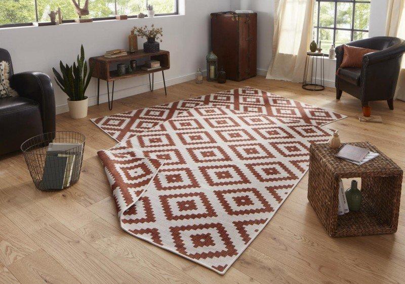 Hnědý moderní oboustranný kusový koberec Twin-Wendeteppiche - délka 170 cm a šířka 120 cm