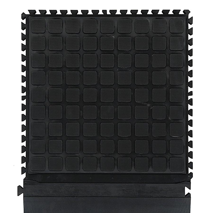 Černá podlahová protiúnavová protiskluzová dlaždice (okraj) - délka 55 cm, šířka 45 cm a výška 2 cm