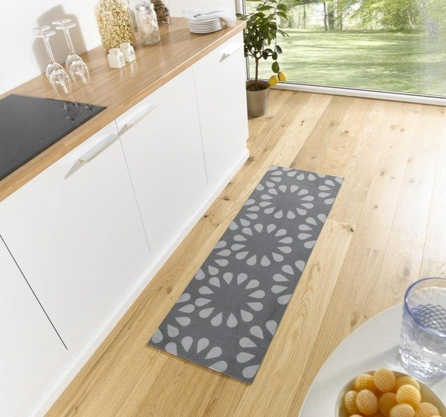 Šedý moderní kusový koberec běhoun Cook & Clean - délka 150 cm a šířka 50 cm