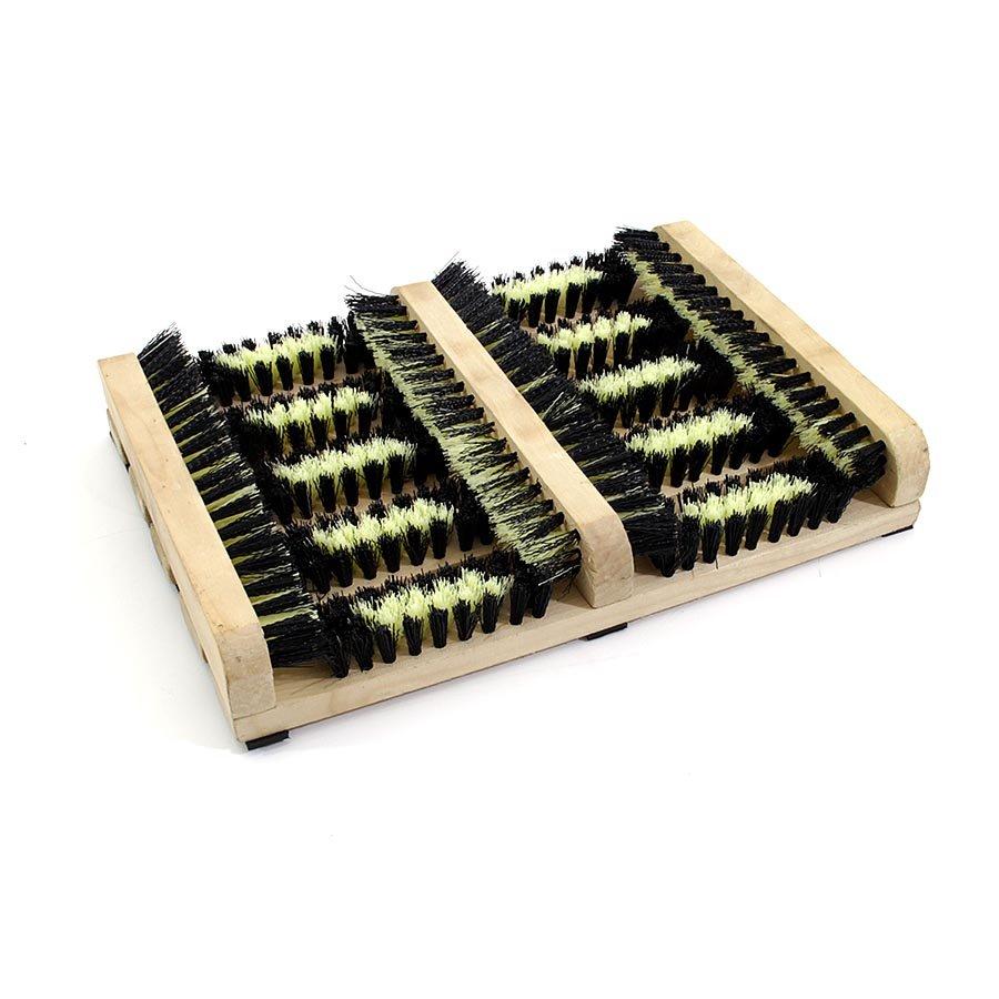Dřevěný kartáčový čistič bot a podrážek obuvi - délka 27 cm a šířka 36 cm
