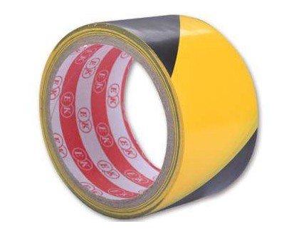 Černo-žlutá výstražná lepící vytyčovací páska - délka 50 m a šířka 4,4 cm