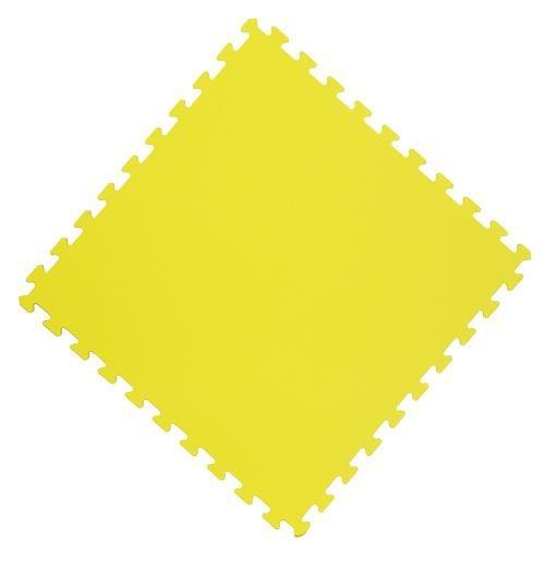Žlutá fitness pěnová modulární podložka - délka 62 cm, šířka 62 cm a výška 1,4 cm - 4 ks
