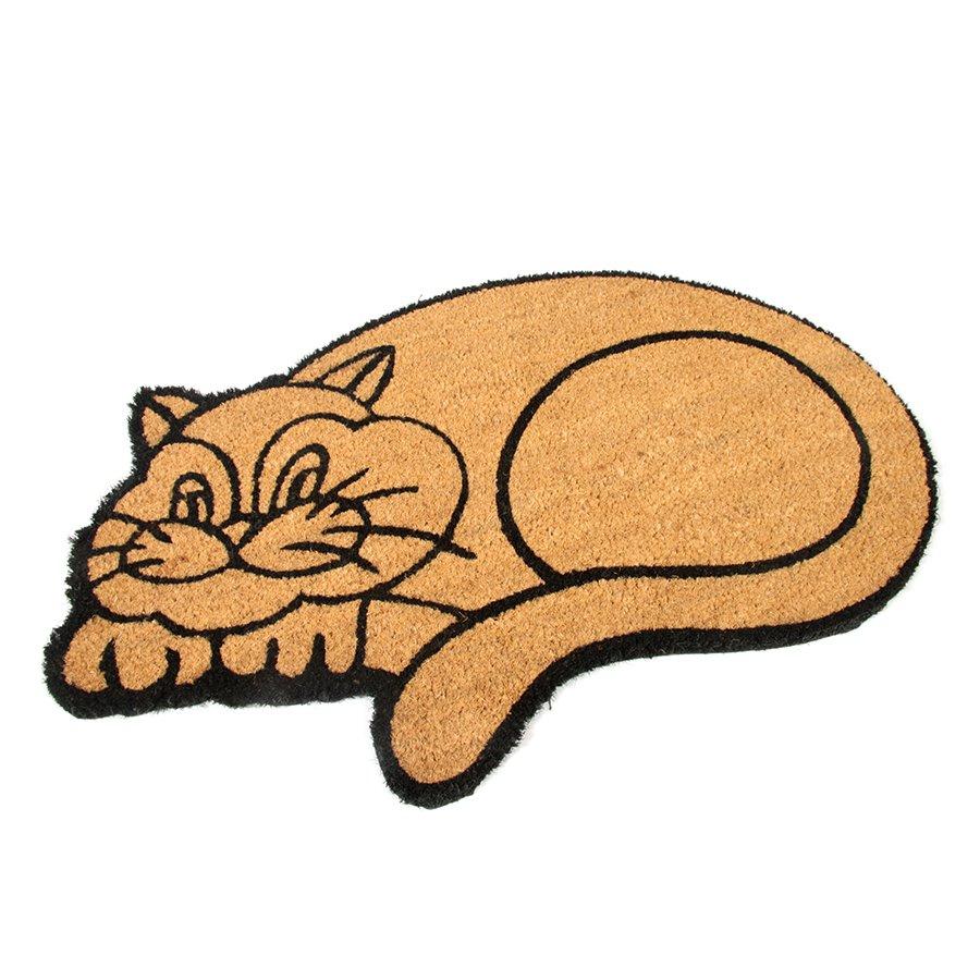 Kokosová čistící venkovní vstupní rohož Happy Cat, FLOMAT - délka 75 cm, šířka 45 cm a výška 1,7 cm